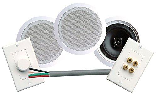 Pyle Home Phskit6 250-Watt 6.25-Inch Dual In-Ceiling Speaker /Volume Control/Speaker Wall Plate/Wiring Combo Speaker System (Pair)