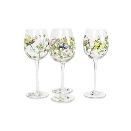 Lenox Butterfly Meadow Handpainted Wine Glass Set Of 4 Wine Glasses