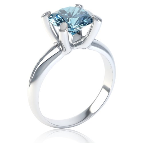 Northern Lights Silver 3.29Ct Sky Blue Topaz Round Ring 4.5