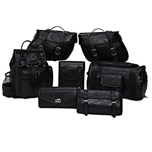 Genuine Leather 9-Piece Motorcycle Saddlebag Luggage Set