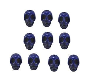Lapis Lazuli Magnesite Dyed Gemstone Beads Carved Skull Beads, 14 X 10mm (10 Per Set)