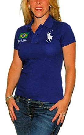 Polo Ralph Lauren Womens Big Pony Brazil Shirt Navy Large
