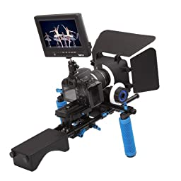 Koolertron Pro DSLR Video Movie Kit Combination PAD Shoulder Support Mount Rig+Hand Grip+ Follow Focus Finder With Gear Belt +Matte Box+ HD 1080P 7\