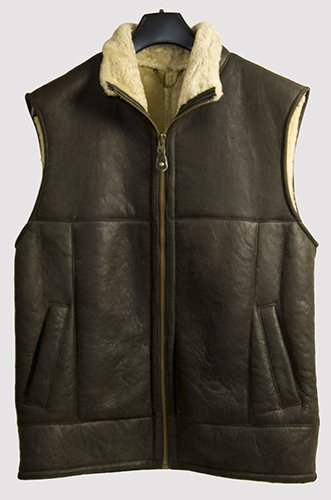 Genuine Sheepskin/Lambskin Gents Gilet Jacket- Antique Brown- Size 48