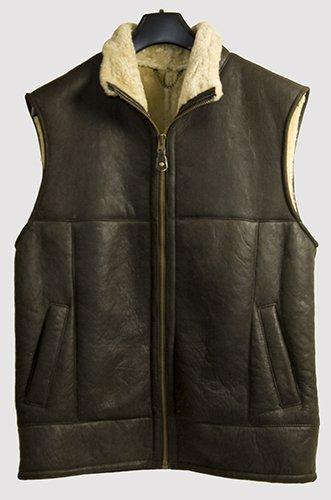 Genuine Sheepskin/Lambskin Gents Gilet Jacket- Antique Brown- Size 38