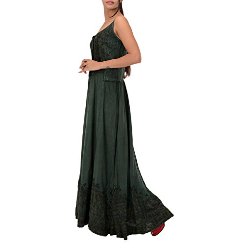 Skirts & Scarves Rayon Embroidered Sleeveless Dress For Women (Green)