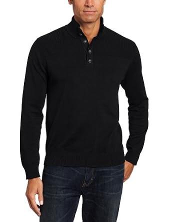 John Henry Men's Button Mock Sweater, Black, Small