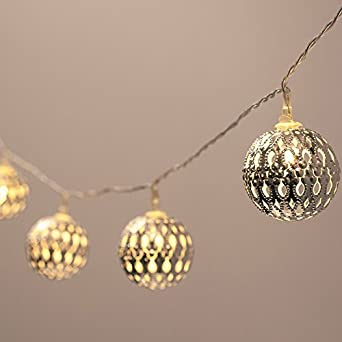 JnDee 20 Battery Powered Warm White Silver Moroccan Orb LED Fairy Lights ON