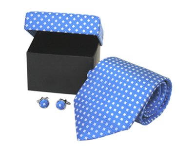 Blue & White 100% Silk Necktie Tie & Cufflinks