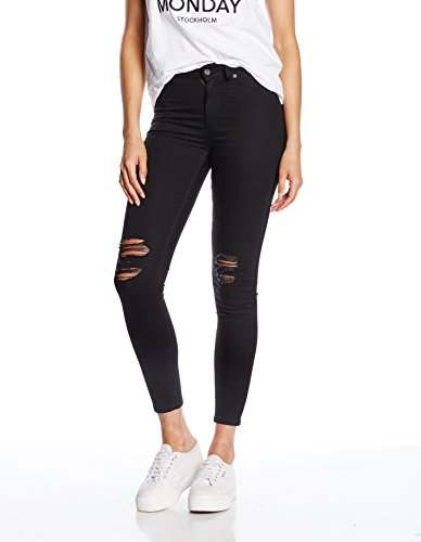 Cheap Monday High Spray Rip, Jeans da Donna, Colore Nero (Black), Taglia W26 (Taglia Produttore: W26/27)