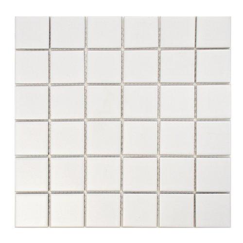 Retro square 2 matte white 12 1 4 x 12 1 4 inch porcelain for 10 inch floor tiles