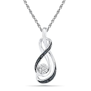 Sterling Silver Black And White Round Diamond Fashion Pendant (0.03 cttw)