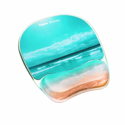 Fellowes Photo Gel Mouse Pad and Wrist Rest with Microban Protection, Sandy Beach (9179301) (Gel Wrist Mouse Pad compare prices)