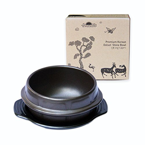 Crazy Korean Cooking Korean Stone Bowl (Dolsot), Sizzling Hot Pot for Bibimbap and Soup - Premium Ceramic (Small - No Lid) (Korean Stone Pot compare prices)