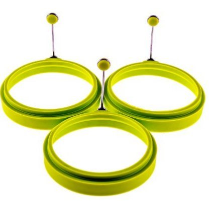 Premium Silicone Egg Cooker Ring / Pancake Rings 3-Pack Silicone Egg Ring - Egg Mold - Silicone Pancake (3, green)