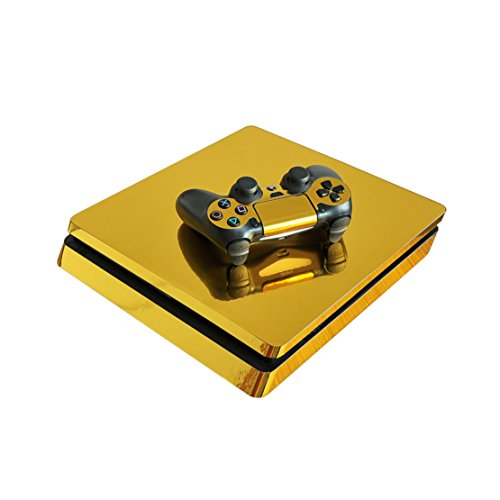 DOTBUY PS4 Slim Pelli Playstation 4 Slim Vinile Adesivi Skin Sticker Giochi PS4 Slim Sistema + Due Decalcomanie del Dualshock Controller (Glossy Gold)