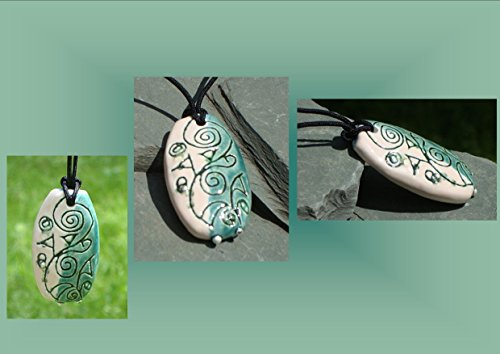 abstract-necklace-ceramic-pendant-teal-cream-pottery-silver-focal-bead-stoneware-jewelry