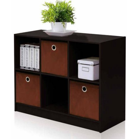 Furinno 99940 Basic 3X2 Bookcase Storage with 3-Collapsible Bins - Espresso/Brown