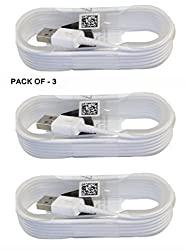 Pack of Three ( 3 ) 1 Meter / 4 Feet White High Quality round shape Micro USB Data Sync Charging Cables for Samsung Galaxy S5 CDMA and many other android smart phones. Non-Retail Packaging - White Color ( Pack of Three Cables )