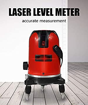 BEESCLOVER 5 Lines 6 Points Level Automatic Self Leveling 360 Vertical&Horizontal Tilt Degrees Rotary LD 635nm Outdoor Mode Level Machine+Tripod AU Plug for ce (Color: Level machine+tripod-AU plug)