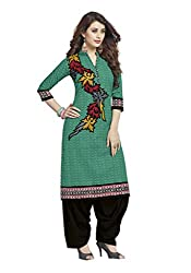CHINTAN TEXTILES Ethnicwear Women's Dress Material GREEN_Free Size