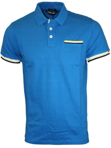 New Mens Blue Nickelson NMC0039 Designer Branded Polo Neck T-Shirt Top L
