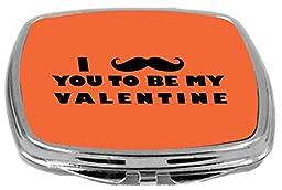 Rikki Knight I Mustache You to Be My Valentine Design Compact Mirror, Orange, 2 Ounce