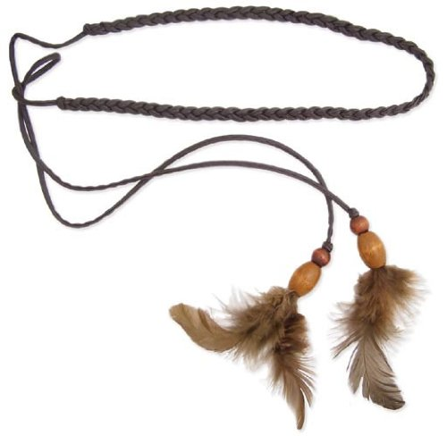 Brown Braided Leather Feather Dangle Headband