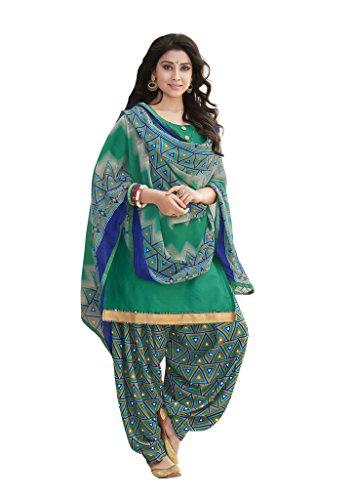 Kvsfab Multicolor Glace Cotton Printed Work un-stitched Patiala Suits