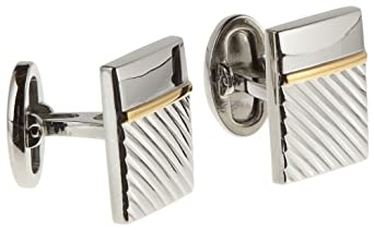 Donald Trump Men's Silver with Gold Band Brass Cufflinks