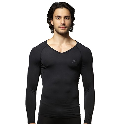 GearX Men's Summer Sports Long Sleeves V-Neck Compression Base Layer 110(XL) Black