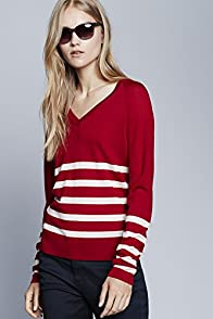 Long Sleeve Placement Stripe Vneck Sweater