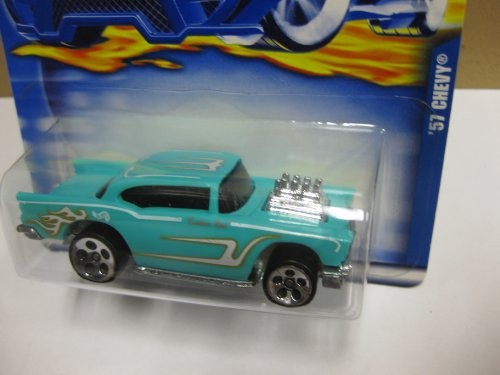"Hot Wheels 2000 '57 CHEVY - ""Custom ROD"" Tampo - Chrome 1976 Malaysia 1957 CHEVY Bottom - Col. #105 - 1"