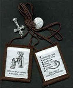 Brown Scapular - Our Lady and Simon Stock on White Background (1008)