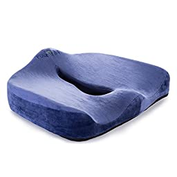I-PURE ITEMS TM Coccyx Orthopedic Comfortable Memory Foam Chair and Car Seat Cushion for Lower Back, Tailbone and Sciatica Pain Relief (Blue)