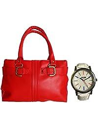 Arc HnH Women HandBag + Watch Combo - Buckle Red Handbag + Multicolor White Watch