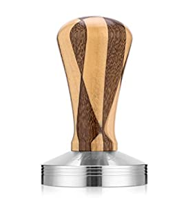 Adolph Elegance Wooden Coffee Tamper - Espresso Tamper 58mm Stainless Steel Base with Solid Wooden Handle - Coffee Shop Supplies - Barista Tools and Equipment by Adolph