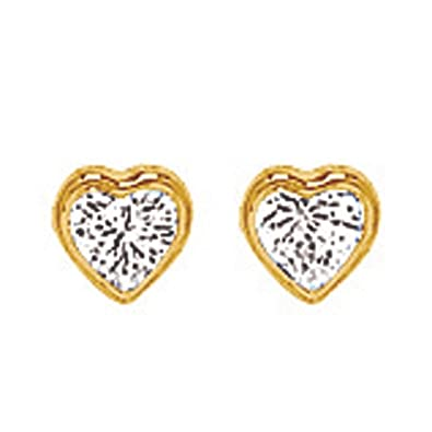 So Chic Jewels - 18k Yellow Gold - Heart and Cubic Zirconia Stud Earrings
