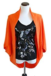 Chicastic Women's Loose Fit Lightweight Shrug Style Casual Cardigan - Orange