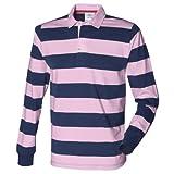 (フロント・ロウ) Front Row メンズ ストライプ 長袖ポロシャツ ラガーシャツ トップス カットソー 男性用 (2XL) (ネイビー/ピンク)