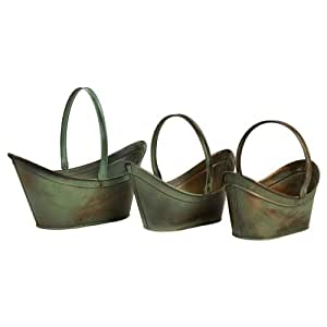 Three Piece Leva Verdigris Flower Bucket Set in Copper