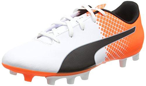 PumaevoSPEED 5.5 FG Jr - Scarpe da Calcio Unisex - Bambini , Bianco (Weiß (puma white-puma Black-SHOCKING Orange 05)), 36