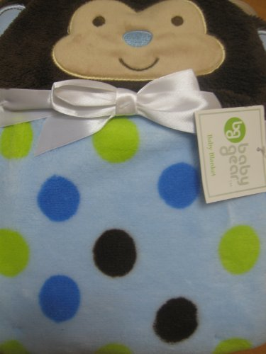 Baby Boy Soft Hooded Monkey Blanket Blue and Brown with Dots - 1