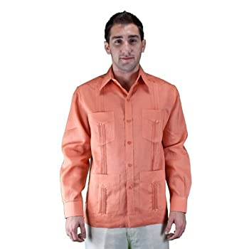 100% linen long sleeve salmon guayabera shirt