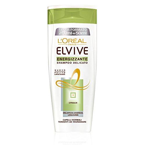 L'Oréal Paris Elvive Energizzante Shampoo Delicato per Capelli Normali Tendenti ad Ingrassarsi, 300 ml