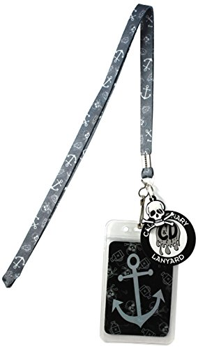 Lanyard with Charm Grey Nautical Anchor Skinny Lanyard with Rubber Charm