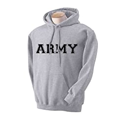 Athletic ARMY Hooded Sweatshirt in Gray