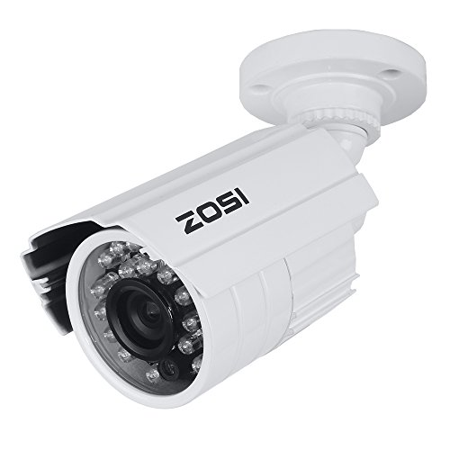 Zosi Hd 800Tvl Day/Night 24 Infrared Leds Wide Angle 3.6Mm Cctv Camera Home Security Outdoor Waterproof 65Ft 20M Ir Night Vision Bullet Camera White (Metal Case )