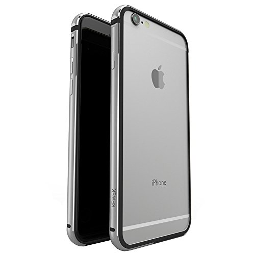 iPhone 6 Case, KEWEK Aluminum Metal Bumper (No Signal Reduce) Flexible TPU Inner Frame Dual Layer Shock Absorbing Phone Case for iPhone 6 / 6s (Gray) (Iphone 6 Metal Bumper Case compare prices)