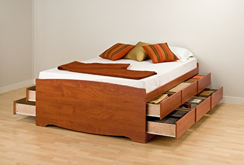 Prepac CBD-5612 Monterey Tall Double Platform Storage Bed, 12-drawers (Cherry)